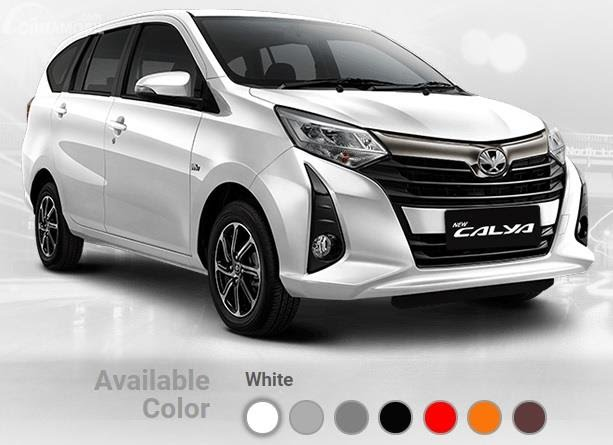 Pilihan Warna Toyota Calya 2019 ditawarkan dalam 7 pilihan yakni White, Silver Metallic, Grey Metallic, Black, Red, Orange Metallic dan Bronze Mica Metallic